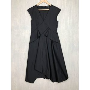 Cos black origami fit and flare midi dress 6